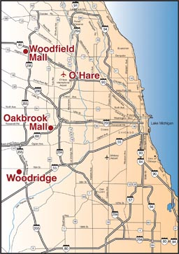 map showing Illini Shuttle stops in Chicago area
